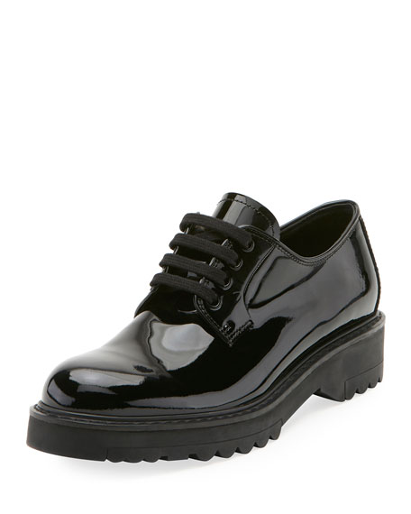 Prada Patent Lace-Up Platform Oxford