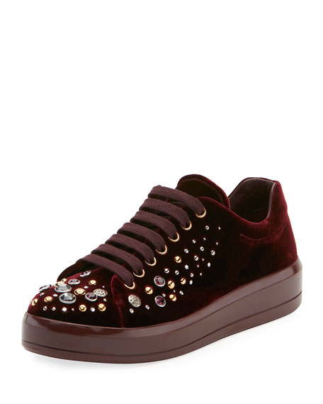 Embellished Velvet Platform Low-Top Sneaker