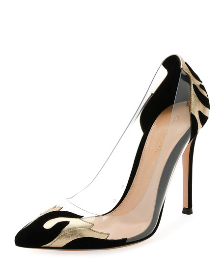 Gianvito Rossi Plexi/Metallic 105mm Pump, Black/Gold