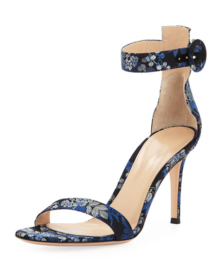 Floral-Print Ankle-Strap Sandal