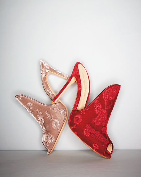 Embroidered Satin 105mm Mule Sandal