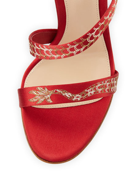 Snake Coiled Satin Embellished Sandal, Red