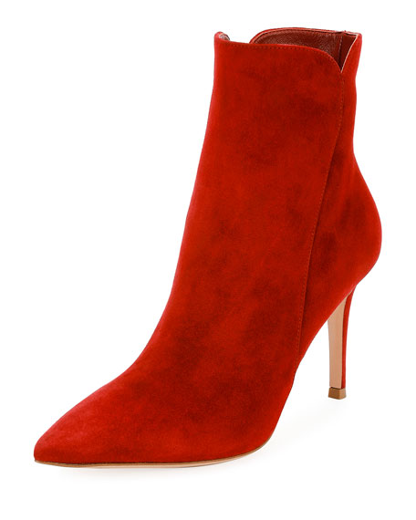 Gianvito Rossi Suede 85mm Point-Toe Bootie, Red