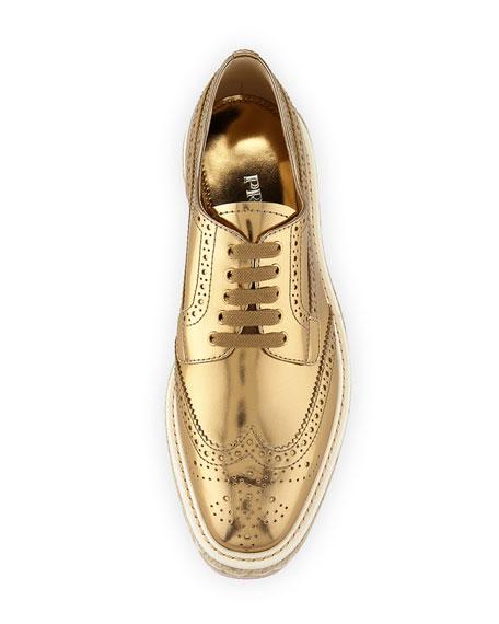 Metallic Wing-Tip Platform Loafer, Gold