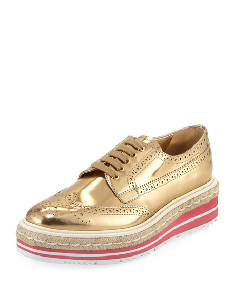Prada Metallic Wing-Tip Platform Loafer, Gold