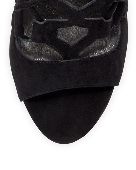 Roxie Caged Suede/Leather Sandal