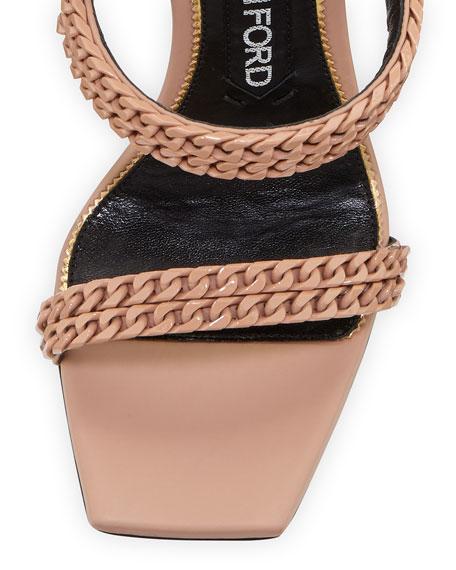 Chain Strappy 105mm Sandals, Beige