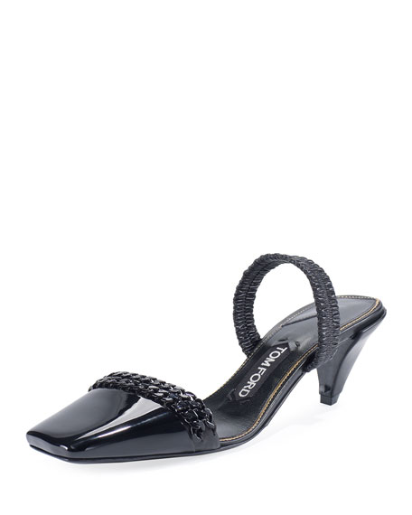 Halter Chain Patent 50mm Pumps, Black