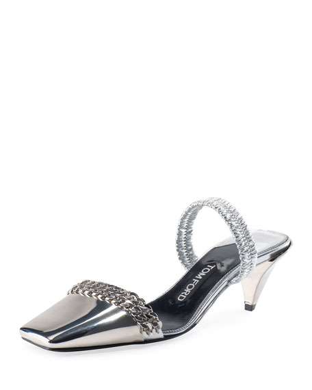 Metallic 50mm Halter Pumps, Silver