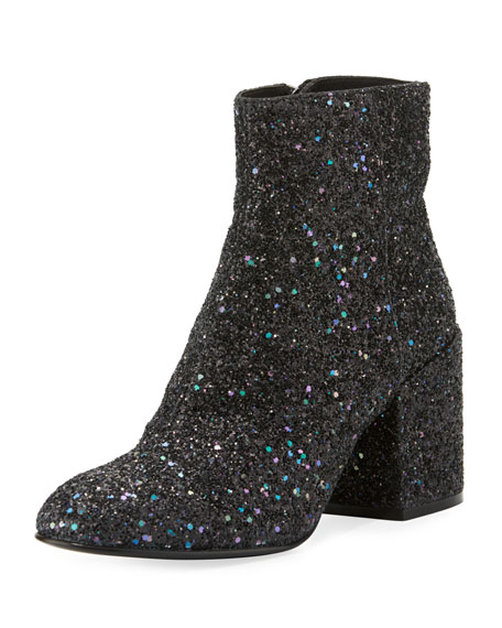 Ash Egoiste Galaxi Glitter Zip Bootie, Midnight