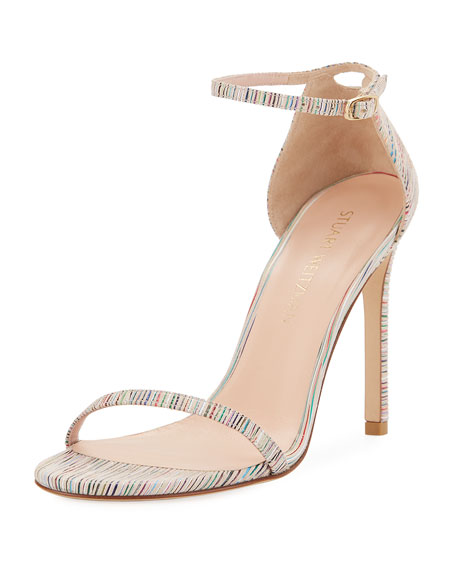 Stuart Weitzman Nudistsong Striped Ankle-Wrap Sandal