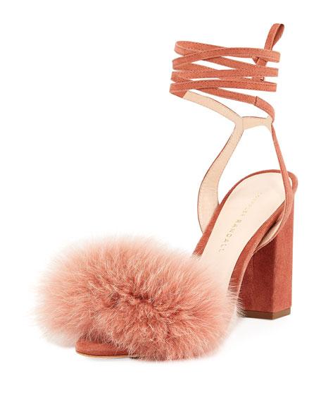 Loeffler Randall Nicolette Fur-Trim Ankle-Wrap Sandal