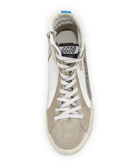 Distressed Leather High-Top Sneaker