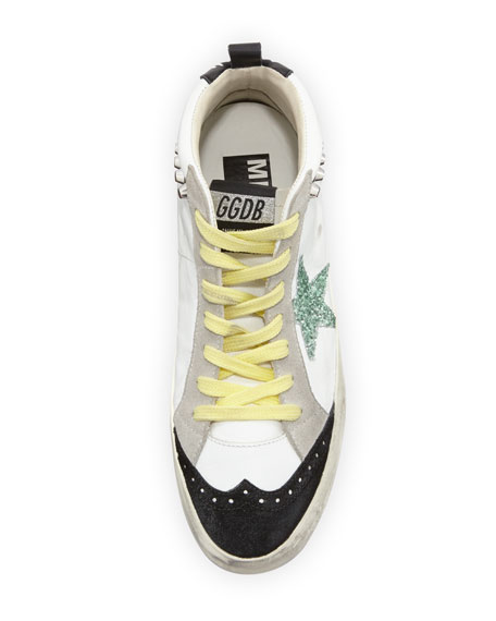 Brogue Leather Mid-Top Sneakers