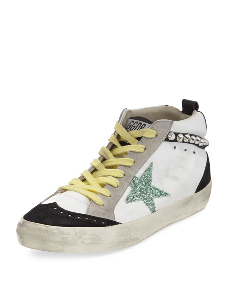 Golden Goose Brogue Leather Mid-Top Sneaker