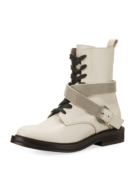 Brunello Cucinelli Leather Hiking Boot with Monili Harness
