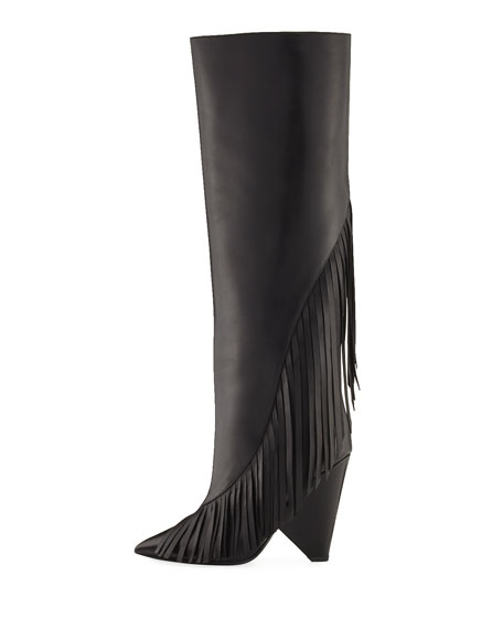 Niki Diagonal-Fringe Knee Boot