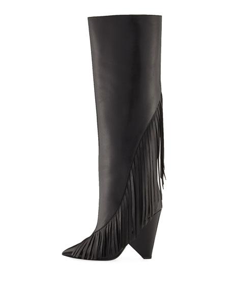 Niki Diagonal-Fringe Knee Boot