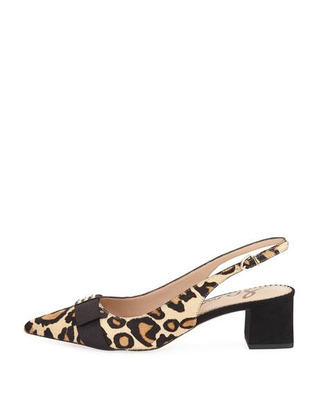 Alwyn Leopard-Print Calf Hair Slingback