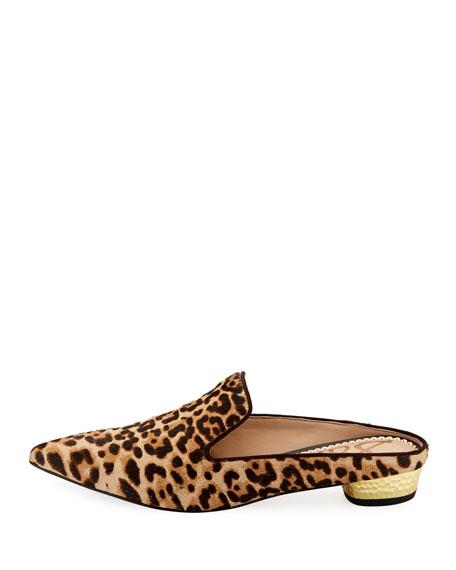 Augustine Low-Heel Fur Slide, Leopard