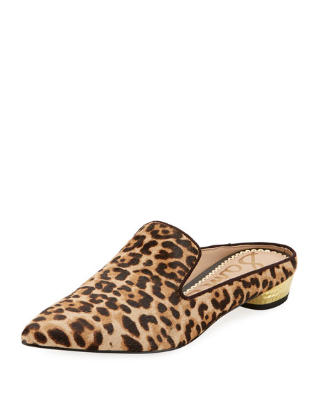 Augustine Low-Heel Fur Slide, Leopard