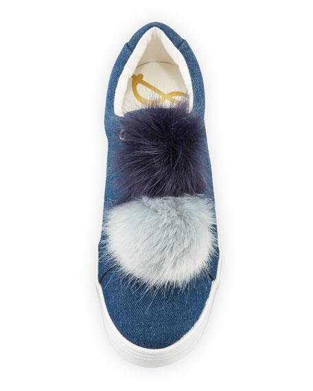 Leya Denim Pompom Sneaker