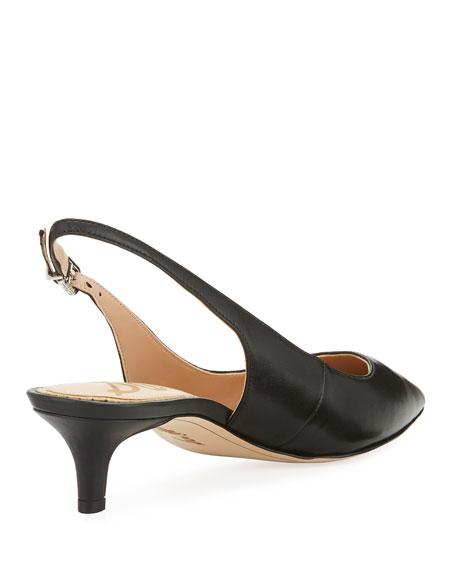Ludlow Leather Kitten-Heel Slingback Pump