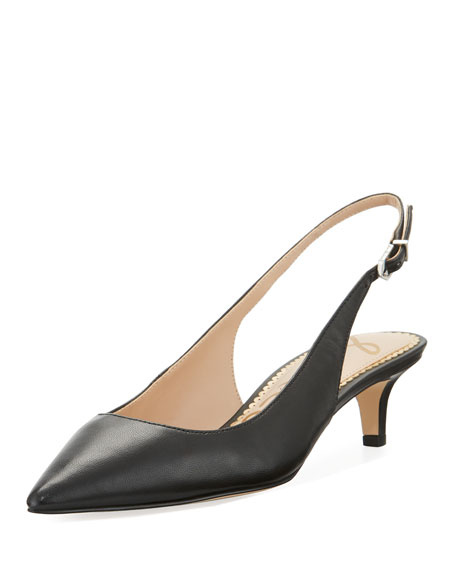 LUDLOW LEATHER KITTEN-HEEL SLINGBACK PUMPS