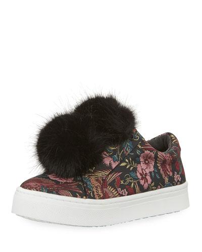 Leya Jacquard Pompom Sneaker