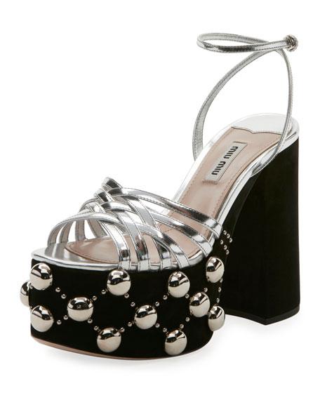 Miu Miu Bicolor Studded Suede Platform Sandal