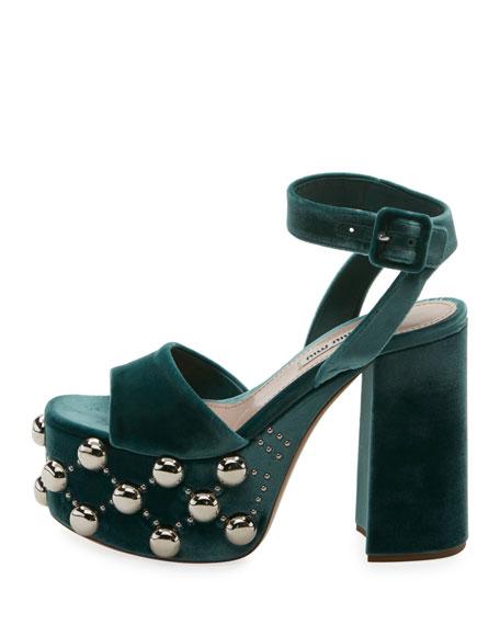 Miu Miu Studded Platform Sandals