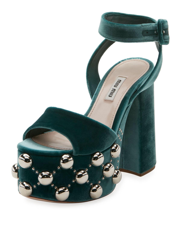 1c514a28562 Miu Miu Velvet Studded Platform Sandal