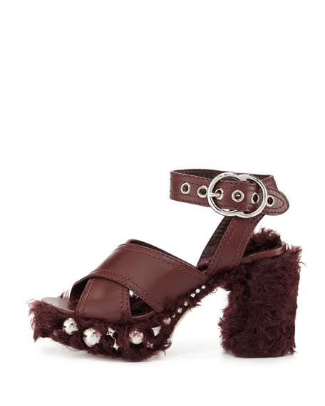 Studded Faux-Shearling 95mm Platform Sandal