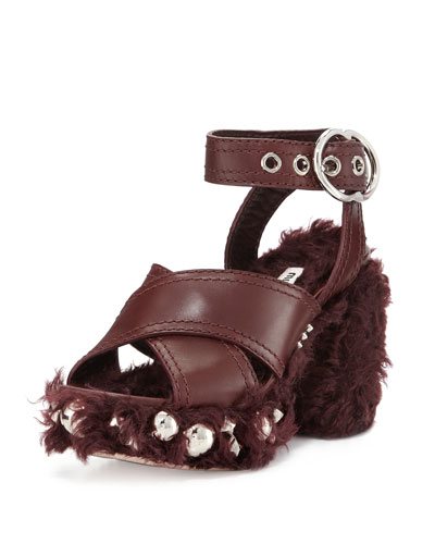 Studded Faux-Shearling 95mm Platform Sandal