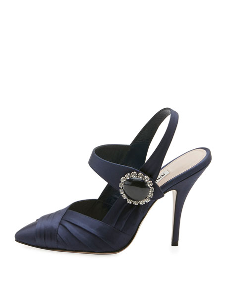 Jeweled Satin Slingback Pump