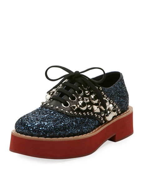 Sequined Leather Derby Shoes, Blue