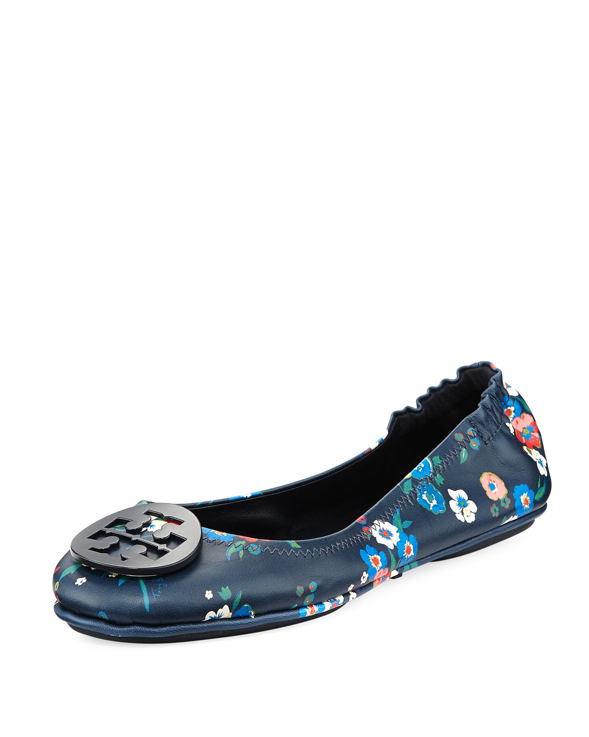 2b5842a392e Tory Burch Minnie Floral Travel Logo Ballet Flat