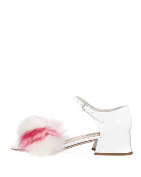 Striped Faux-Fur Patent 35mm Sandal