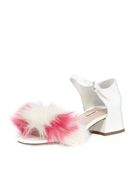 Miu Miu Striped Faux-Fur Patent 35mm Sandal