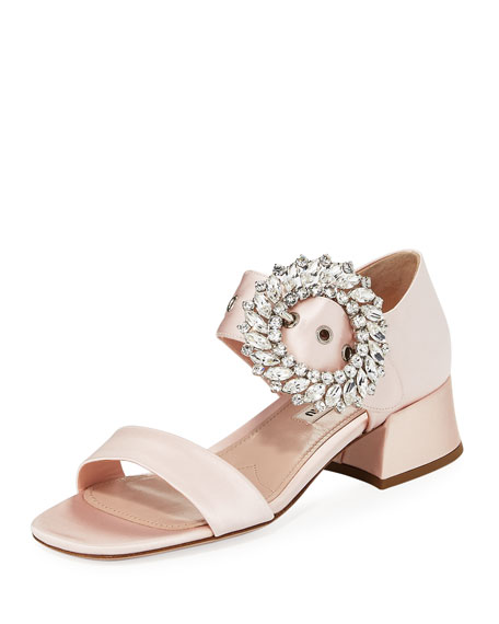 Miu Miu Satin Crystal-Embellished 35mm Sandal