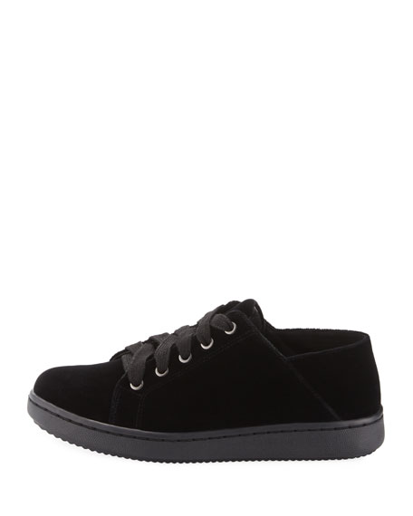 Clifton Velvet Lace-Up Low-Top Sneaker