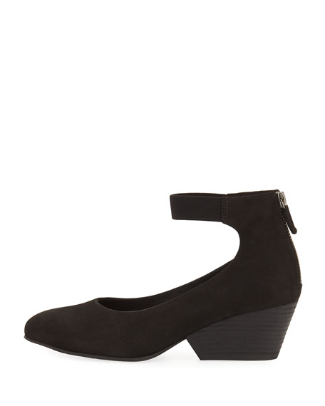Liza Suede Ankle-Wrap Wedge Pump