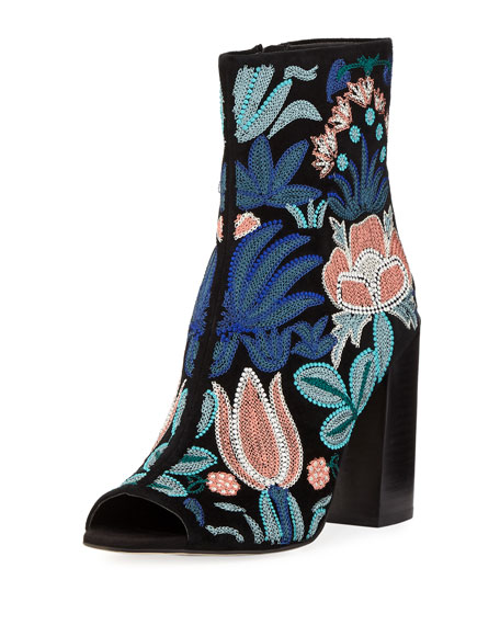 Billie Embroidered Suede Peep-Toe Bootie