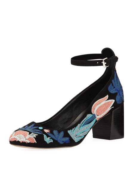 Rebecca Minkoff Bridget Too Embroidered Suede Pump