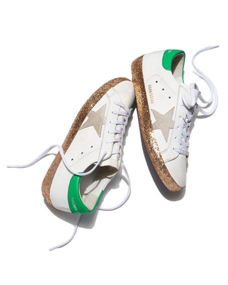 Superstar Glittered Platform Sneakers, White/Gold