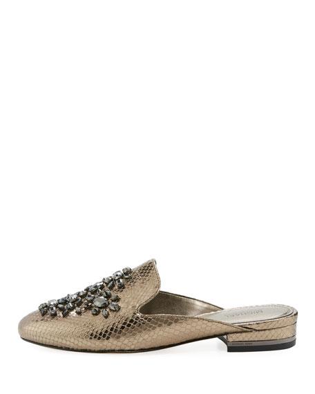 Edie Snake-Embossed Flat Mule Loafer