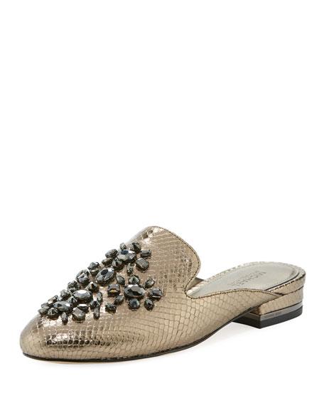 MICHAEL Michael Kors Edie Snake-Embossed Flat Mule Loafer