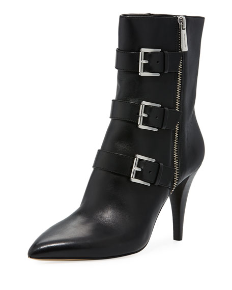 MICHAEL Michael Kors Lori Leather Buckle Bootie