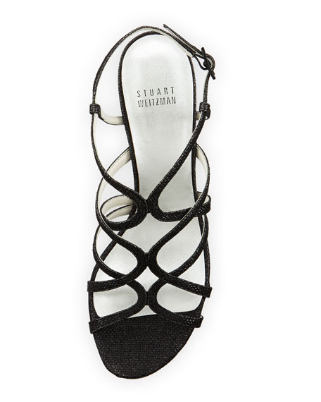 Turningup Strappy Glitter Sandals, Black