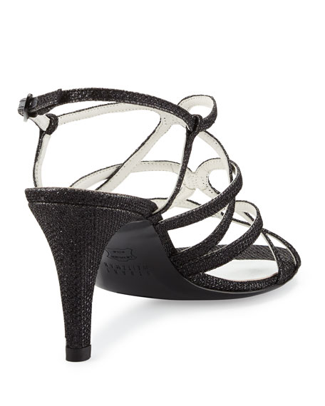 Turningup Strappy Glitter Sandals, Black
